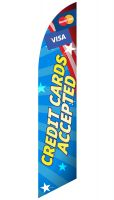 """Credit Cards Accepted"" Feather Flag (Patriotic Blue)"