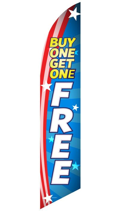"""Buy One Get One Free"" Feather Flag (Patriotic Blue)"